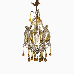 Mid-Century Glass Chandelier, 1960s