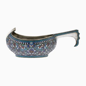 Large Antique Russian Solid Silver & Enamel Kovsh from Victor Akimov, 1890s