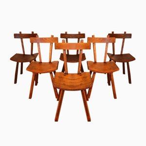 Chaises de Salon Brutalistes en Orme, 1960s, Set de 6