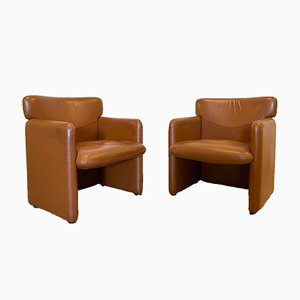 Vintage Cognac Leather Armchairs, 1980s, Set of 2