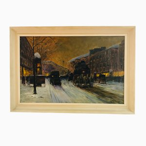CH Brionnet, Paris by Night, Oil on Canvas, Antique Painting