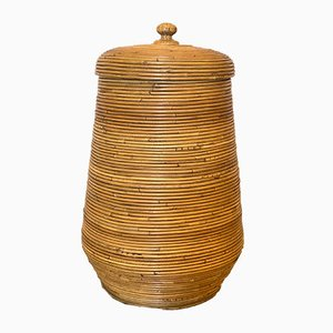 Vintage Bamboo Basket with Lid, 1970s