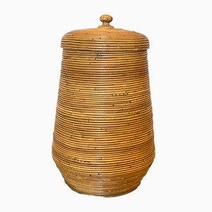 Vintage Korb aus Bambus mit Deckel, 1970er
