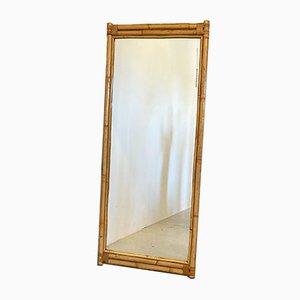 Espejo vintage de bambú, años 70