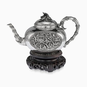 19th Century French Chinoiserie Solid Silver Teapot by Jean-Valentin Morel, 1840s