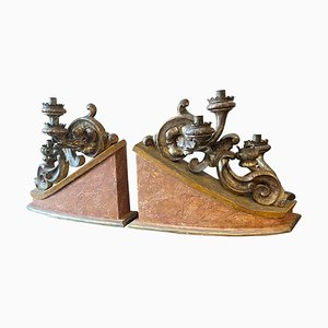 19th Century Italian Wood Candelabras, Set of 2