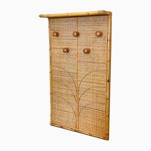 Estante vintage de mimbre y bambú, años 70