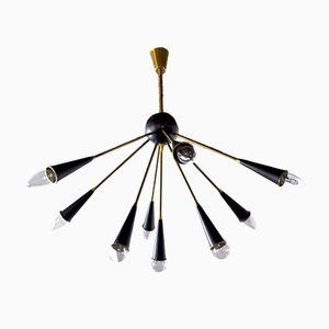 Italian 9-Arm Sputnik Chandelier, 1960s