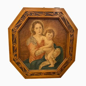 Art Nouveau, Octagonal Framed Oil on Canvas, Depicting a Madonna with Jesus Child
