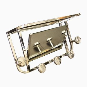 Art Deco French Chrome Coat Rack with Mirror, 1940s