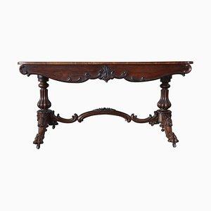 Scrivania antica in legno di noce intagliato, fine XIX secolo