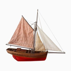 Handmade Wooden Model Sailboat, 1920s