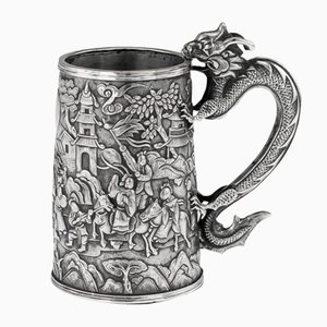 19th Century Chinese Export Solid Silver Nobility Scenes Mug by Cutshing, 1870s