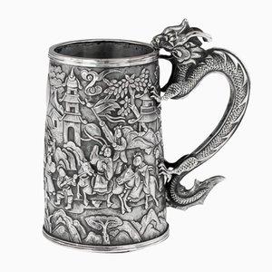 Chinesischer Export Adelsszenen Becher aus Massivem Silber von Cutshing, 1870er