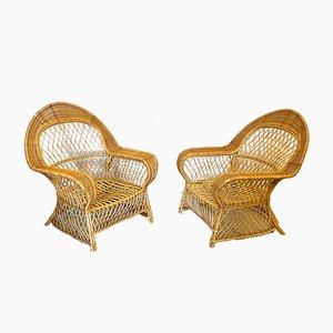 Stühle aus Bambus & Korbgeflecht von Gervasoni, 1990er, 2er Set