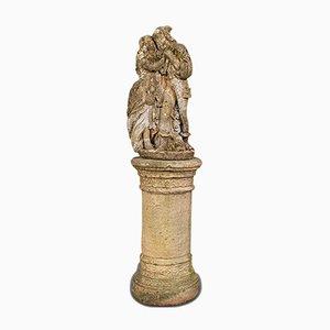 Grande Sculpture Romantique Vintage en Pierre Reconstituée, Angleterre, 1950s