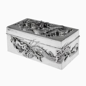 Antique Japanese Meiji Silver Dragon Cigar Box, 1900s