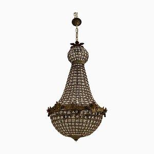 Lámparas de araña grandes con cuentas de cristal, años 60. Juego de 2
