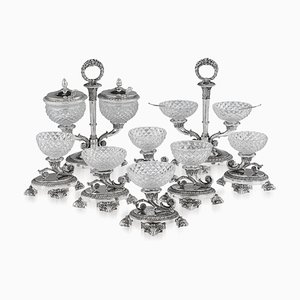 19th Century French Solid Silver & Glass Condiments Service, 1830s, Set of 8