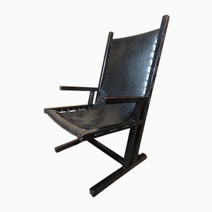 Vintage Dutch Rietveld Style Ebonized Black Leather Armchair, 1969