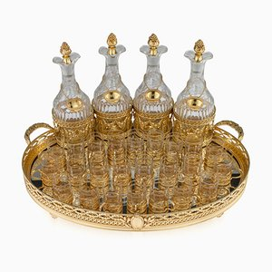 19th Century French Silver Gilt Liqueur Tableware for Maison Odiot, 1890s, Set of 33