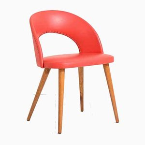 Silla de escritorio escandinava roja, años 50