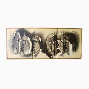 Acrylique sur Toile, Portraits Triptyques par Langen
