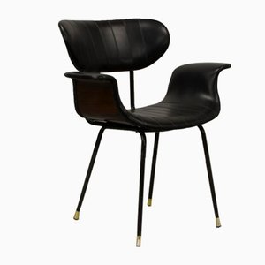 Italian Rosewood & Black Leatherette Swan Chair with Black Steel Feet & Brass Tips, 1960s
