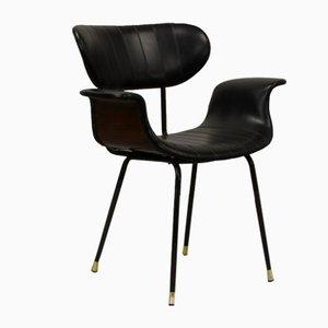 Silla italiana Swan de palisandro y cuero sintético negro con patas de acero negro y latón, años 60