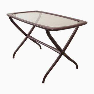 Italian Side Table with Wooden Scissor Frame & Glass Top, 1950s