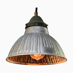 Lámpara colgante francesa industrial de vidrio mercurizado y latón de GAL, años 40