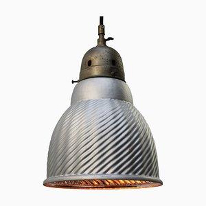 Lampada a sospensione industriale Mercury in vetro e ottone, anni '40