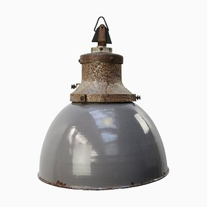 Mid-Century Industrial Gray Enamel & Cast Iron Pendant Lamp from Industria Rotterdam