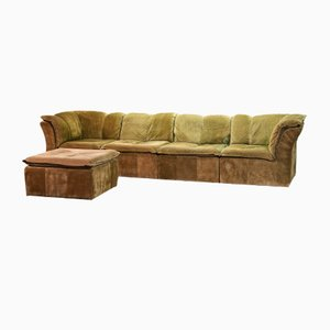 German Moss Green Nubuck Leather Patchwork Sofa Modules & Ottoman from Laauser, 1970s, Set of 5