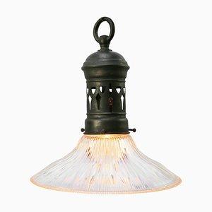 Lampe à Suspension Mid-Century Industrielle en Verre avec Plateau en Laiton de Holophane