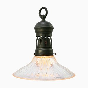 Mid-Century Industrial Glass Pendant Lamp with Brass Top from Holophane