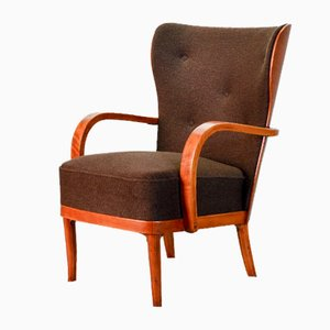 Scandinavian Brown Fabric & Plywood Wingback Lounge / Club Chair, 1950s