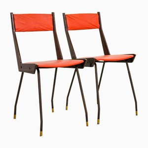 Italian Red Leatherette Dining Chairs by Gianfranco Frattini for R&B, 1950s, Set of 6