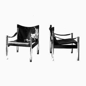 Mid-Century Danish Safari Lounge Chairs, Set of 2