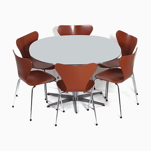 Danish Dining Set by Piet Hein, Bruno Mathsson and Arne Jacobsen for Fritz Hansen, 1970s, Set of 7