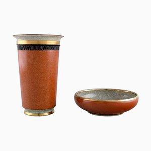 Cuenco y jarrón de oro y porcelana Crackle naranja de Royal Copenhagen