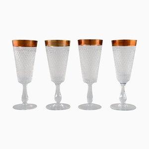 Champagne Gläser aus mundgeblasenem Kristallglas mit Goldrändern, Frankreich 1930er, 4er Set