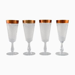 Champagne Glasses in Mouth-Blown Crystal Glass with Gold Edges, France 1930s, Set of 4