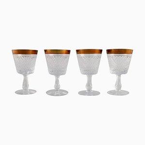 Mundgeblasene Weingläser aus Kristallglas mit Goldrändern, Frankreich, 1930er, 4er Set