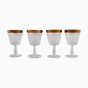 Wine Glasses in Mouth-Blown Crystal Glass with Gold Edges, France, 1930s, Set of 4