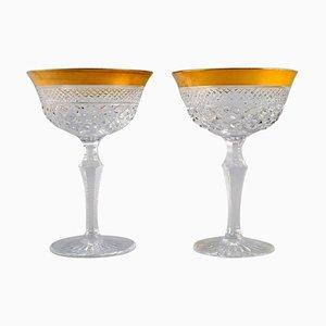 Champagne Glasses aus mundgeblasenem Kristallglas mit goldenen Rändern, Frankreich, 1930er, 2er Set