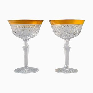 Champagne Glasses in Mouth-Blown Crystal Glass with Gold Edges, France, 1930s, Set of 2