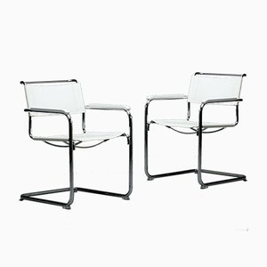 Thonet S34 Leather White Chair by Mart Stam