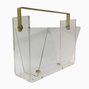 Mid-Century Lucite Magazine Rack by David Lange, 1970s
