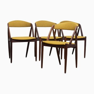 Model 31 Walnut Dining Chairs in Ochre by Kai Kristiansen, Denmark, 1960s, Set of 4